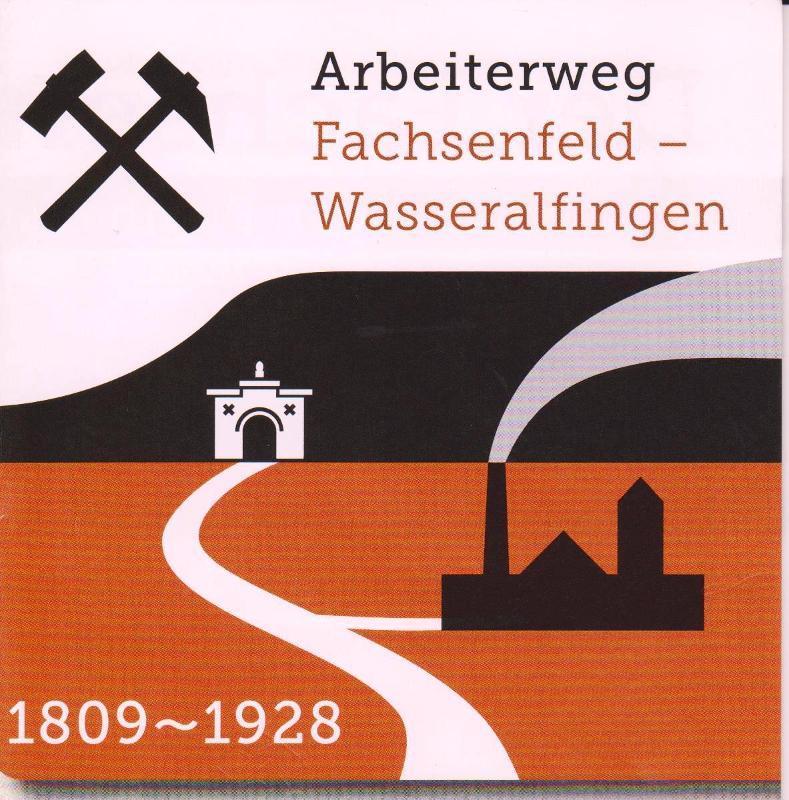 Bild des Arbeiterwegs Fachsenfeld - Wasseralfingen mit Jahreszahlen und Symbol
